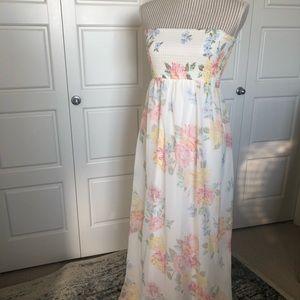 Pastel Floral Flowy Strapless Dress -Never Worn